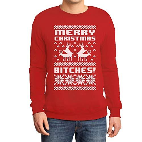 Merry Christmas Bitches Rot Large Sweatshirt Weihnachtspullover - Lustiger Weihnachtspulli