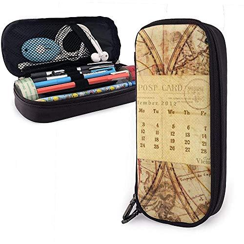 Kartenkalender PU Ledertasche Aufbewahrungstaschen Tragbare Student Pencil Office Briefpapier Tasche Multifunktionstasche