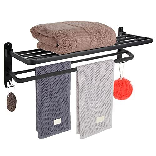 Estante de baño,toallero,toallero montado en la pared con dos ganchos,toallero montado en la pared,soporte de toalla negro,estante de baño negro,inodoro,hotel,lavabo,ducha,moderno y robusto (E)