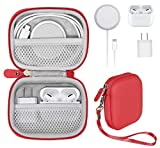 CaseSack- Handy Case for iPhone 12/ 12 Pro MagSafe Charger, Airpods Pro Plus, Airpods 2, Airpods 1, Consolidation case for iPhone Accessories and Type C hub, Lightning hub, USB hub (red)