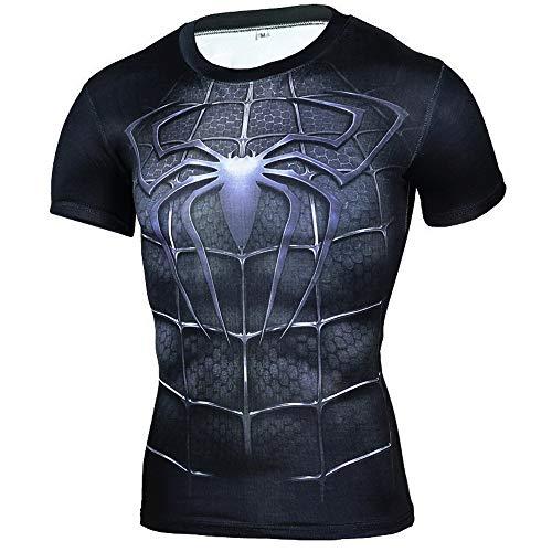 HOOLAZA Avengers Super Heroes Hombres Camiseta de compresión Spiderman Tops Fitn