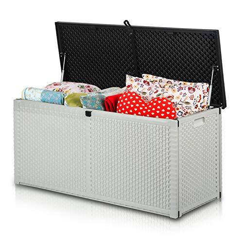 Plonos Auflagenbox Gartenbox Gartentruhe mit Sitzfunktion 120 x 57,5 x 48 cm 300 Liter