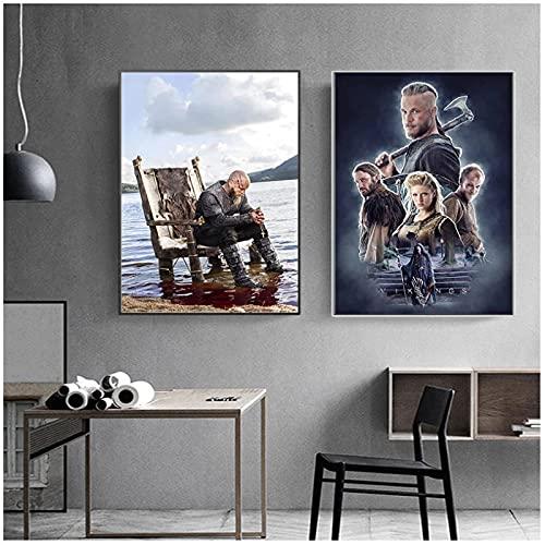 FRTTCYO póster Póster de película de arte de pared Serie de televisión clásica Show Vikings Pintura en lienzo Carteles Pintura Decoración para el hogar Póster modular Dormitorio-50x70cmx2 Sin marco