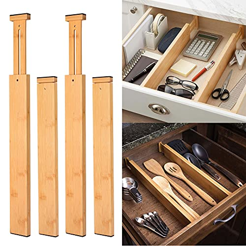 LC&TEAM Schubladentrenner Verstellbar Bambus Schubladenorganizer 4er-Pack 44cm-56cm Schubladen Organizer, Gefedert Teiler Schubladen für Küchenspeicher, Schlafzimmer, Kommode, Schrank