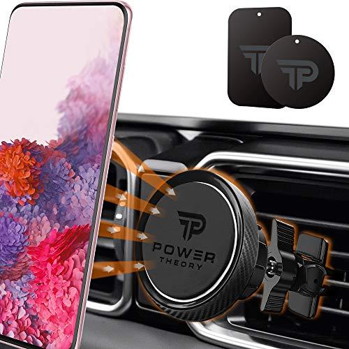 Power Theory Magnet Handyhalterung Auto - KFZ Handyhalter in Carbon Optik mit Stärkeren Magneten und verbesserter Klemme für iPhone 11 Pro Max XS X XR SE2 8 Plus 7 6 6s Samsung S20 S10+ S9 S8 S7 S6