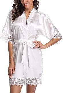 Short Satin Kimono Robes Women Pure Color Bridemaids Bath Robe with Lace Trim