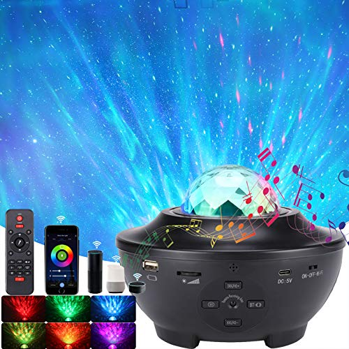 Smart WiFi Star Projector Night Light Compatible with Alexa, ACCEDE Sky Ocean Wave Starry Projector w/ Bluetooth Speaker, Rotating LED Nebula Cloud Light for Kids Adults Bedroom Decoration