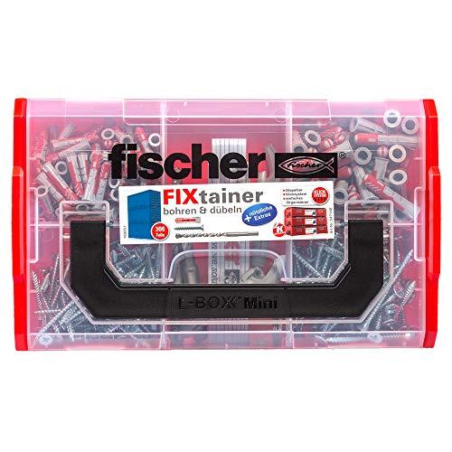 fischer FIXtainer DUOPOWER bohren & dübeln, Dübelbox mit 306 Teilen, inkl. Dübel, Schrauben, Zollstock, Flaschenöffner, Wasserwaage, praktische Werkzeugkiste mit Tragegriff & Klicksystem