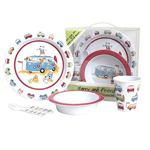 Melamin Kindergeschirr 5 teilig mit Tiermotiv, Bruch- und Spülmaschinenfest • Kinder Geschirr Set Frühstücksset Kinderbesteck