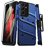 ZIZO Bolt Series for Galaxy S21 Ultra Case with Screen Protector Kickstand Holster Lanyard - Blue & Black