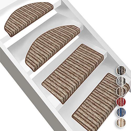 Floordirekt Stufenmatten Trier | Halbrund oder Eckig | Treppenmatten in 6 Farben | Strapazierfähig & pflegeleicht | Stufenteppich für Innen (Halbrund 65 x 23,5 cm, Braun)