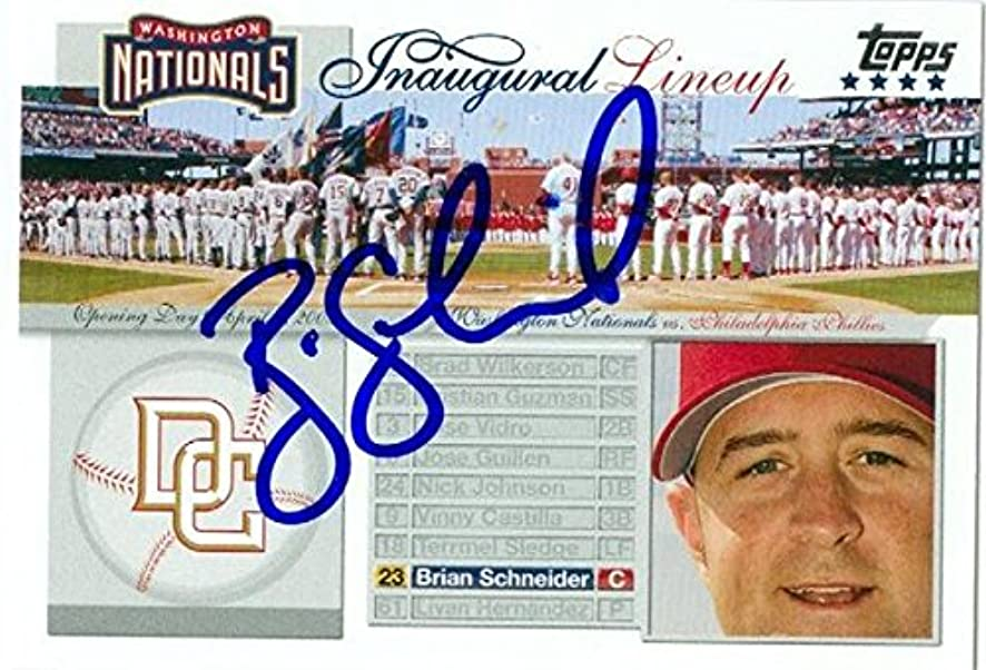 Brian Schneider autographed Baseball Card (Washington Nationals) 2005 Topps Inaugural Lineup #NI-BS - Autographed Baseball Cards