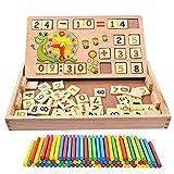 PULABO - Juguetes de aprendizaje de matemáticas, 100 unidades de palos de madera + 70 bloques de ladrillos, caja de conteo educativa para niños preescolares, juguetes de enseñanza cómodos y ecológicos