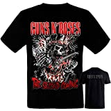 Guns N Roses - Chistera Calavera- Camiseta Negra Hombre Manga Corta -Guns N Roses- Tshirt (L)