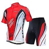 sponeed Cycling Gear for Men Cycle Jersey Set Full Zipper Bike Ride Shorts Men Bicycle Suits Race Road Biking M US Red