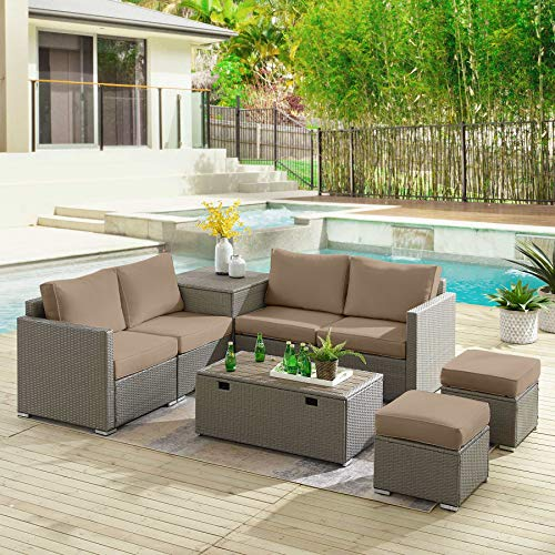 Tribesigns Sectional Sofa Couch Patio Furniture Set Outdoor Conversation Set 8 Pieces All-Weather Wicker Rattan Dining Table Chair with Ottoman, Comfortable Cushions, 2 Storage Tables (Gray+Brown)
