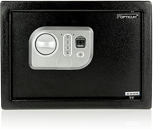RED OPTICUM AX Eclipse Safe Tresor 35x25x25cm - Tresor mit Fingerabdruck & elektronischem Zahlenschloss - Wandtresor Möbeltresor aus robustem Stahl mit Doppelbolzen Verriegelung - 21 L