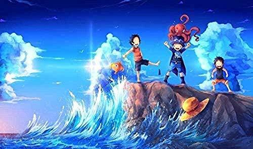 BOIPEEI Rompecabezas 1000 Piezas Rompecabezas para Adultos Rompecabezas Luffy y su compañero Jugando en la Playa Rompecabezas Educativo de Juguete para niños