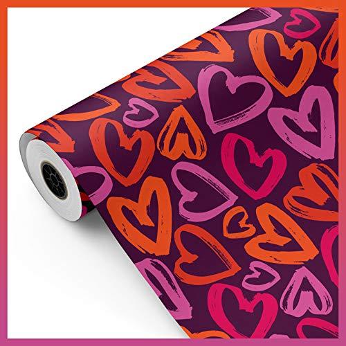 Bobina papel de regalo, rollo grande 62cm x 100m • CORAZONES B • Ideal para: Tiendas Negocios Comercios envolver regalos Cumpleaños Baby Shower Bodas Decoración [FP Fiesta Paper]