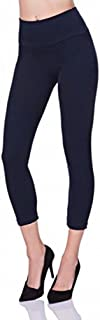 PrettyFashion Womens Cropped Leggings | 3/4 Length Leggings | Capri Stretchy Leggings | High Waisted Sports Active Gym Leggings | Plus Size 8-22