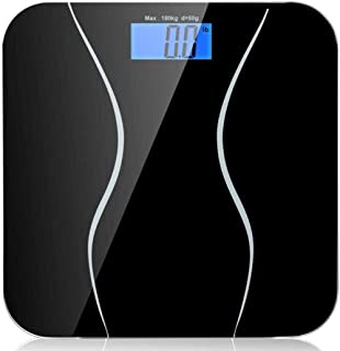 KLT Báscula de pesaje de alta precisión para el cuerpo de la báscula inteligente del hogar electrónico digital equilibrio de peso con pantalla LCD 180Kg/40lb cocina negra