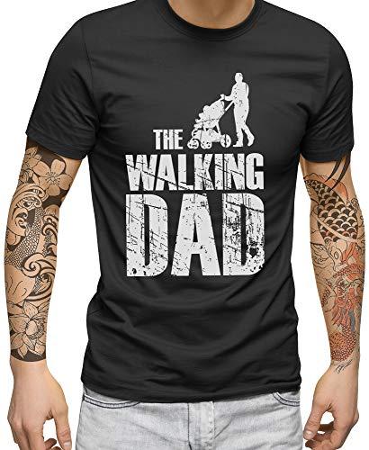 FABTEE - The Walking Dad - Herren Fun T-Shirt   Plus 2 Gratis Aufkleber   Als Papa Geschenk zu Weihnachten, Geburtstag oder Vatertag   in Größen bis 4XL, Größe:2XL, Farbe:Anthrazit