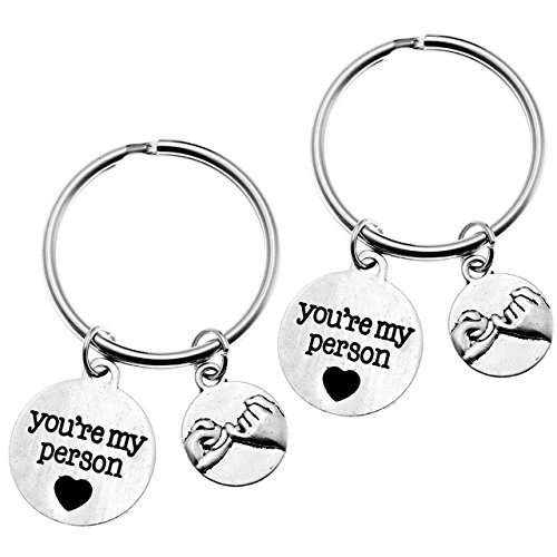 Top Plaza Set of 2'You're My Person' Pinky Promise Antique Silver Alloy Key Chain Key Ring...