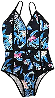 BEESCLOVER Women One Pieces Swimsuits Solid Floral Print Sexy Halter Backless Swimwear Bikini Female Bodysuit Bathing Suit