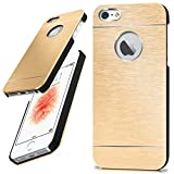 moex Apple iPhone 5S / 5 / SE (2016) | Carcasa fina dorada de aluminio trasera de protección para teléfono móvil ultra fina para iPhone 5/5S/SE (2016) carcasa de metal carcasa de aluminio rígida