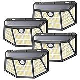 Luce Solare Led Esterno, SEZAC [310LED 3Modalità] luci solari con sensore di movimento, luci solari esterno impermeabili IP68 , Potenti luci solari per giardino (4 pezzi)