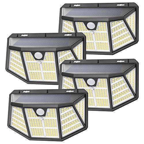 Luce Solare Led Esterno, SEZAC [310LED 3Mode] Lampade solari con sensore di movimento, Lampade solari impermeabili IP68 per esterni, Potenti luci solari per pareti da giardino (4 pezzi)