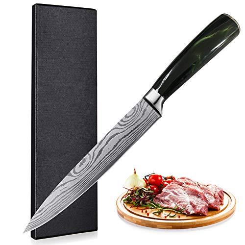 UniqueFire Cuchillo japonés de 20CM - Cuchillo de trinchar - Cuchillo perfecto para cortar sushi y Sashimi, hoja de acero alemán de alto contenido de carbono, cortador cuchillo universal