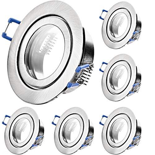 6 x Bad Einbaustrahler 12V inkl. MR16 Fassung Farbe Eisen geb. IP44 Deckenspots Neptun Rund Einbauleuchten