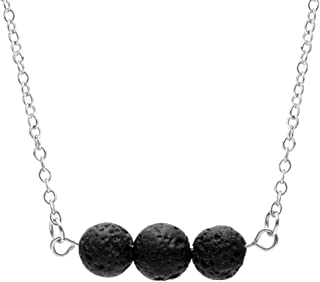 Mid-Year Contracted 3 Round Lava-Rock 8mm Pendant Stainless Steel Pendant Necklace 18