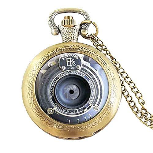 Antiguo vintage cámara lente colgante cuarzo reloj de bolsillo joyería fotografía entusiastas steampunk mens mujeres collar hombres encantos
