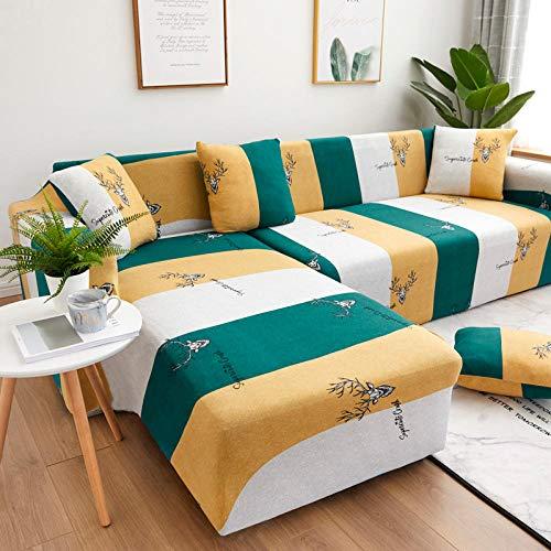 Fundas SofáPatrón Blanco Verde Amarillo Fundas Sofa Elasticas,Funda de Sofa Chaise Longue,Moderna Cubre Sofa,La Funda para Sofa Jacquard de Poliéster (235-310cm)