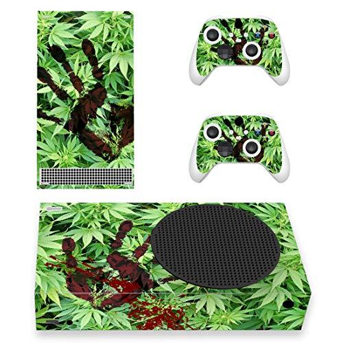 PlayVital Skin für Xbox Series S, Aufkleber Vinyl-Skins Schutzfolie Wrap Abziehbild Abdeckung Stickers Folie für Xbox Series S Konsole Controller-Blut Handabdruck Unkraut