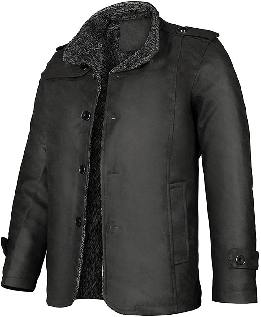 Men's Casual Outwear Jackets Fashion Autumn Winter Working Button Thermal Leather Warm Coats
