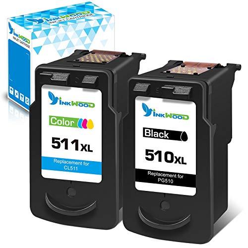 Inkwood PG-510 XL CL-511 XL - Cartuchos de tinta de repuesto para impresoras Pixma MP270, MP280, MP230, MP240, MP250, iP2700, MP495, MP490 y MX360 (1 negro, 1 color)