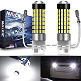 NATGIC H3 Bombillas LED Xenon White 1800LM 3014SMD 78-EX Chipsets con proyector de Lentes para luz de Niebla Luz de circulación Diurna, 6500K, 12-24V (Paquete de 2)