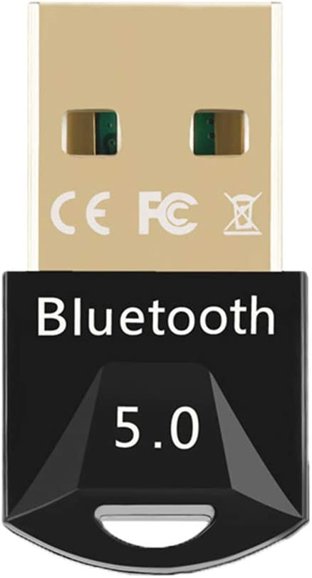 USB Bluetooth 5.0 Adapter,HUANGHUIHAO USB Bluetooth 5.0 Dongle Receiver for PC Win10/8.1/8/7/XP/Vista Support to Connect Headset, Mouse, Keyboard, Printer, Speaker