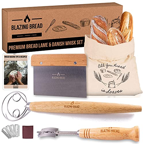 Blazing Bread Lame and Danish Dough Whisk Set - Premium Bread Baking Tools Set Bonus Cotton Bread Bag & Dough Scraper. Scoring Tool with Replaceable Blades. Perfect for Artisan Home Bakers