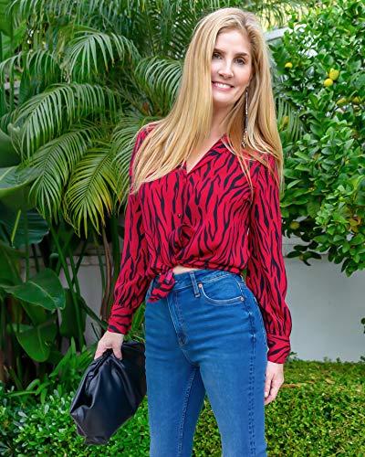 The Drop Women's Rio Red/Black Zebra Print Long Sleeve Shirt by @haneyofficial