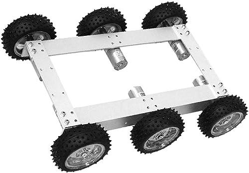 Homyl 6WD Chassis Plattform fürgestell mit Motor Motorhalterung R r und Schraube, ca. 340 x 240 x 85 mm - Silbernes Rad