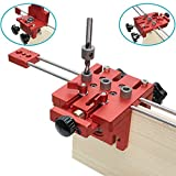 WLLP Universal High Precision Jig Dowel Cam Jig Minifix Jig Kit, 3 in 1 Woodworking Hole Drill Punch Positioner Guide Locator Jig Joinery System Kit