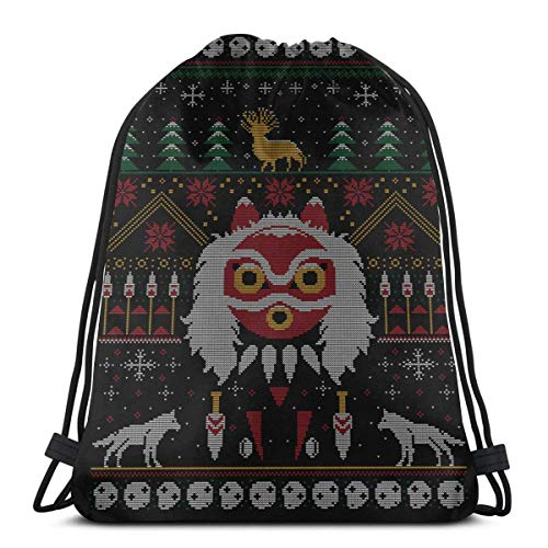 WH-CLA Drawstring Backpack Bags,Mononoke Princess Sweater School Backpack Colorful Gym Bag Lightweight Sackpack Backpack Unisex Drawstring Bags For Girls And Boys