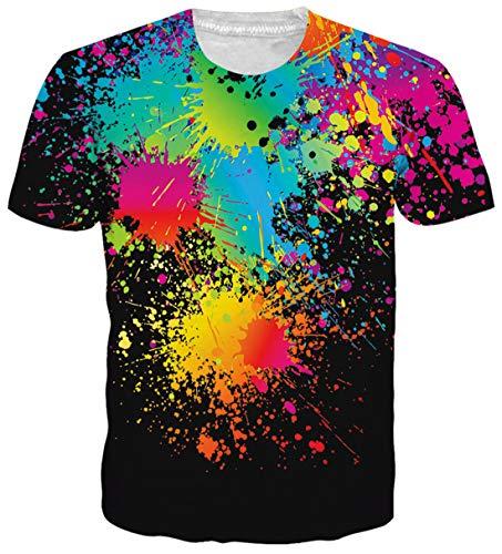 uideazone Herren 3D Splash Druck Hipster Hemd mit kurzen Ärmeln Lässige Bunt Graphics Tees