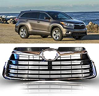 Front Replacement Grill Assembly for Toyota Highlander | 2014 2015 2016 | ABS Chrome Bumper Grille | by JX Accessories