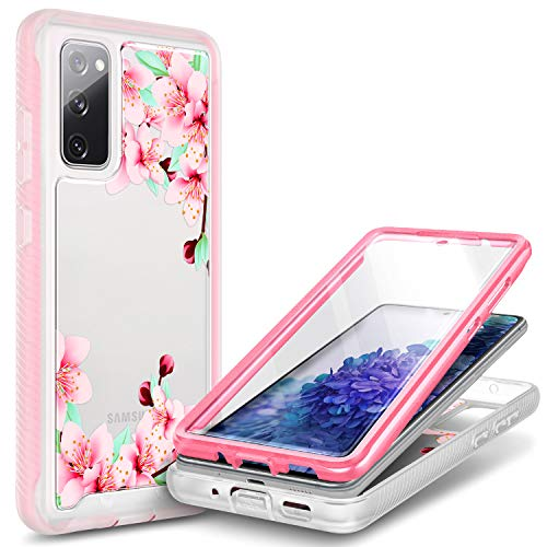 NZND Case for Samsung Galaxy Note 20/Note 20 5G with [Built-in Screen Protector], Full-Body Shockproof Protective Rugged Bumper Cover, Impact Resist Durable Phone Case (Flower Design Peach Blossom)