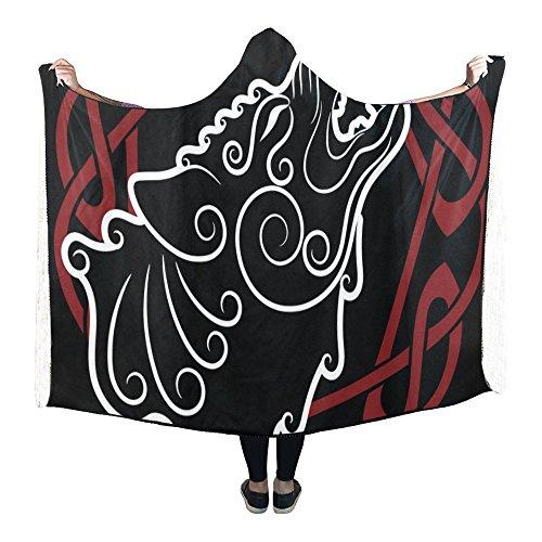 InterestPrint Hooded Blanket Wolf On Celtic Style Pilling Polar Fleece Hooded Throw Wrap 80 X 53 Inch